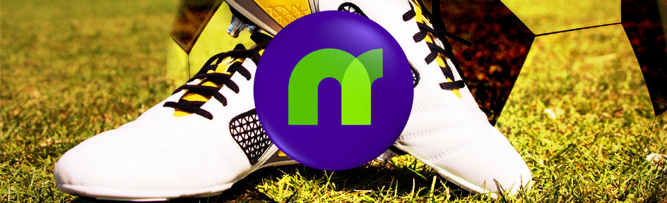 The Newsround logo with a pair of football boots on a field in the background.