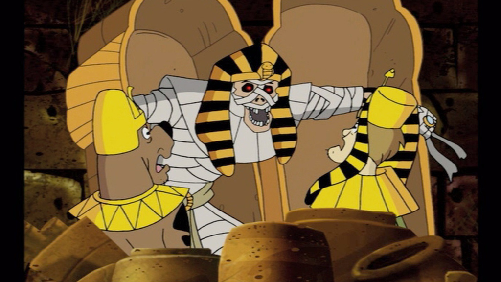 Egyptian mummy scaring Scooby Doo and Shaggy