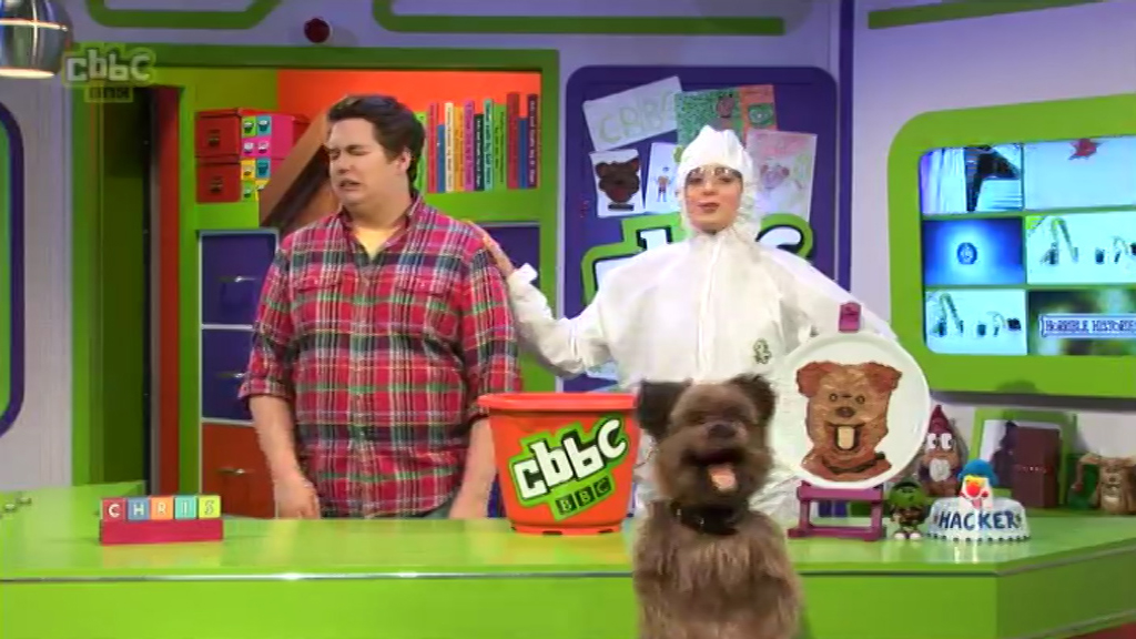 Chris, Katie and Hacker in the CBBC Office