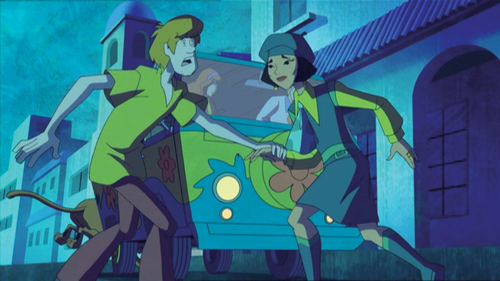 Shaggy and an exchange student, Mai Le run for the mystery bus in terror