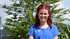 Lindsey Russell standing in the Blue Peter garden