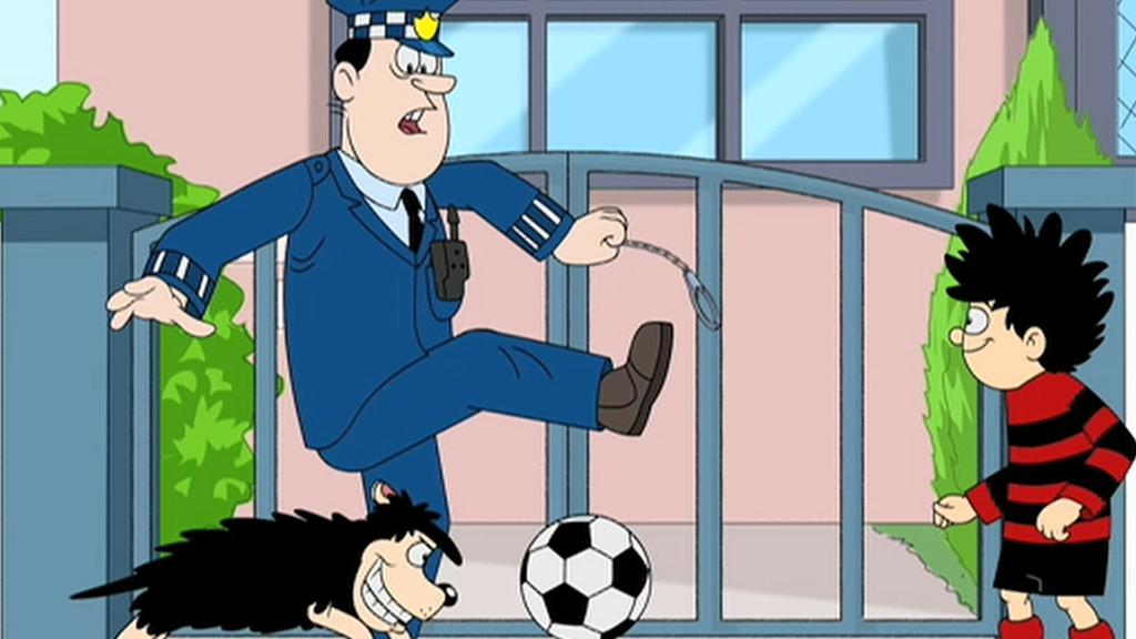 Dennis and Gnasher kicking a football infront of a policeman.