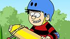 Dennis the Menace with a skateboard.