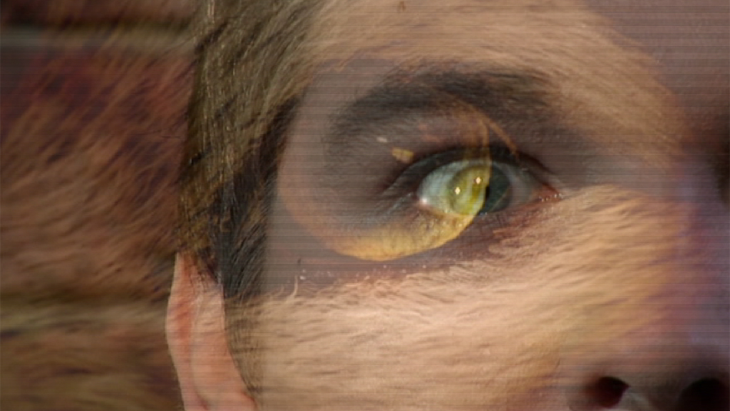 Chris' eye and a wolf eye merged together