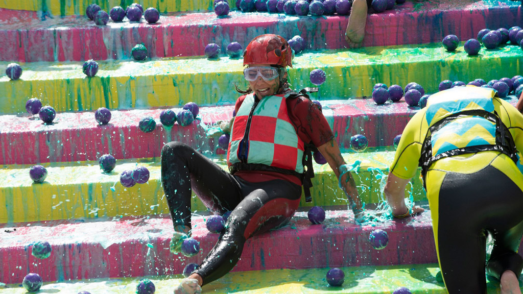 A contestant from Splatalot taking part in a game.