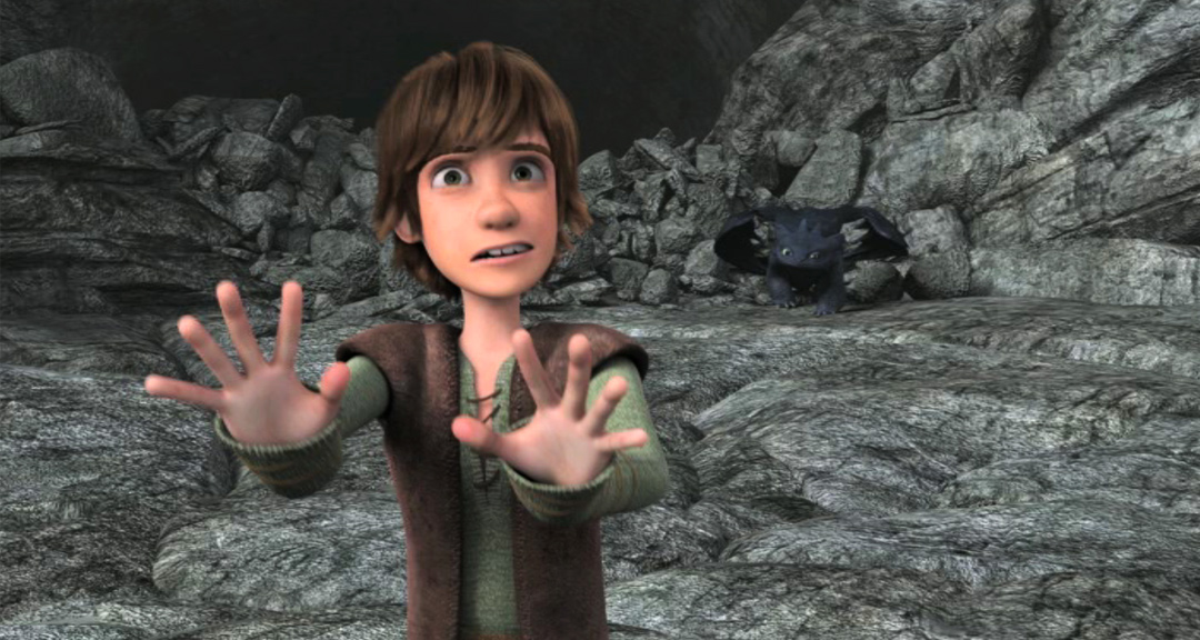 Hiccup trying to fight off the Vikings.