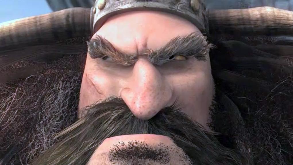 An angry Viking, growling.