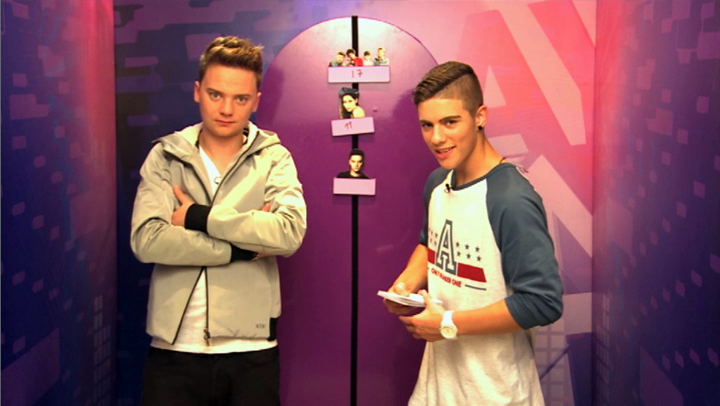 Conor Maynard and Aidan from 'Friday Download'.