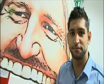 Amir Khan stood next to Sav's Big Mouth.
