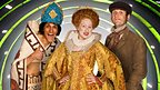Horrible Histories Queen Elizabeth putting toothpaste goo in her mouth.