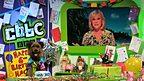 Sue Barker surprises hacker on the CBBC Office set
