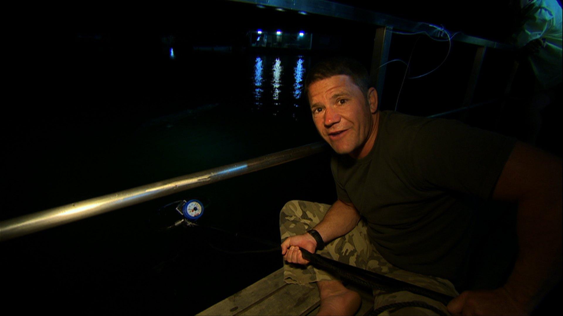 Steve measures bite force on a boat