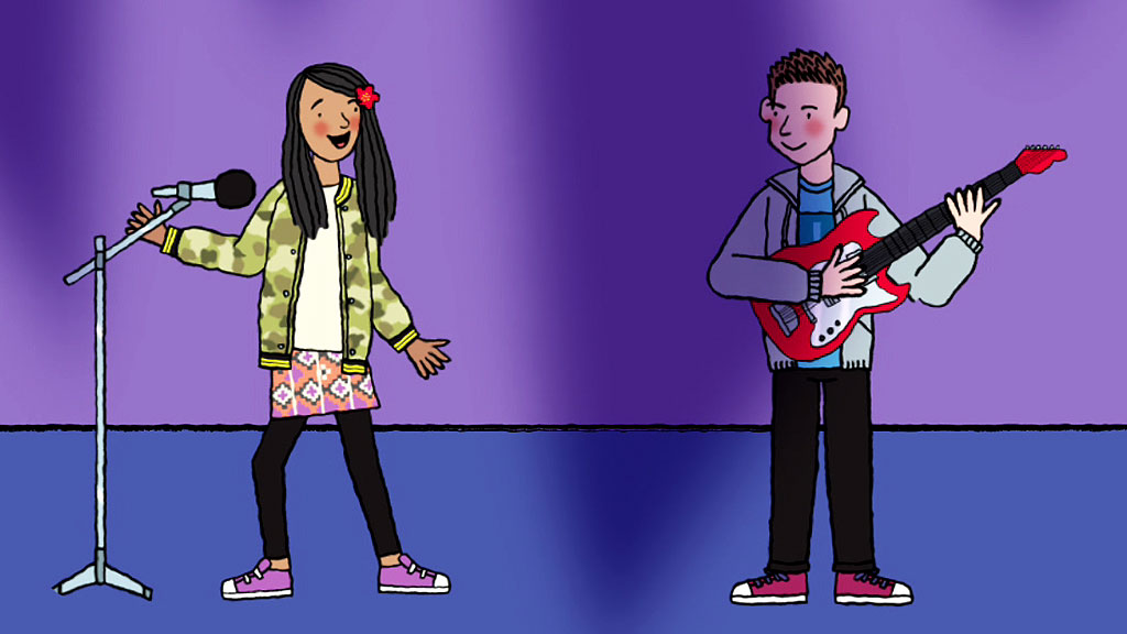 Illustrated versions of Liam and Poppy performing on stage.