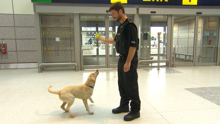 Barney and a police dog