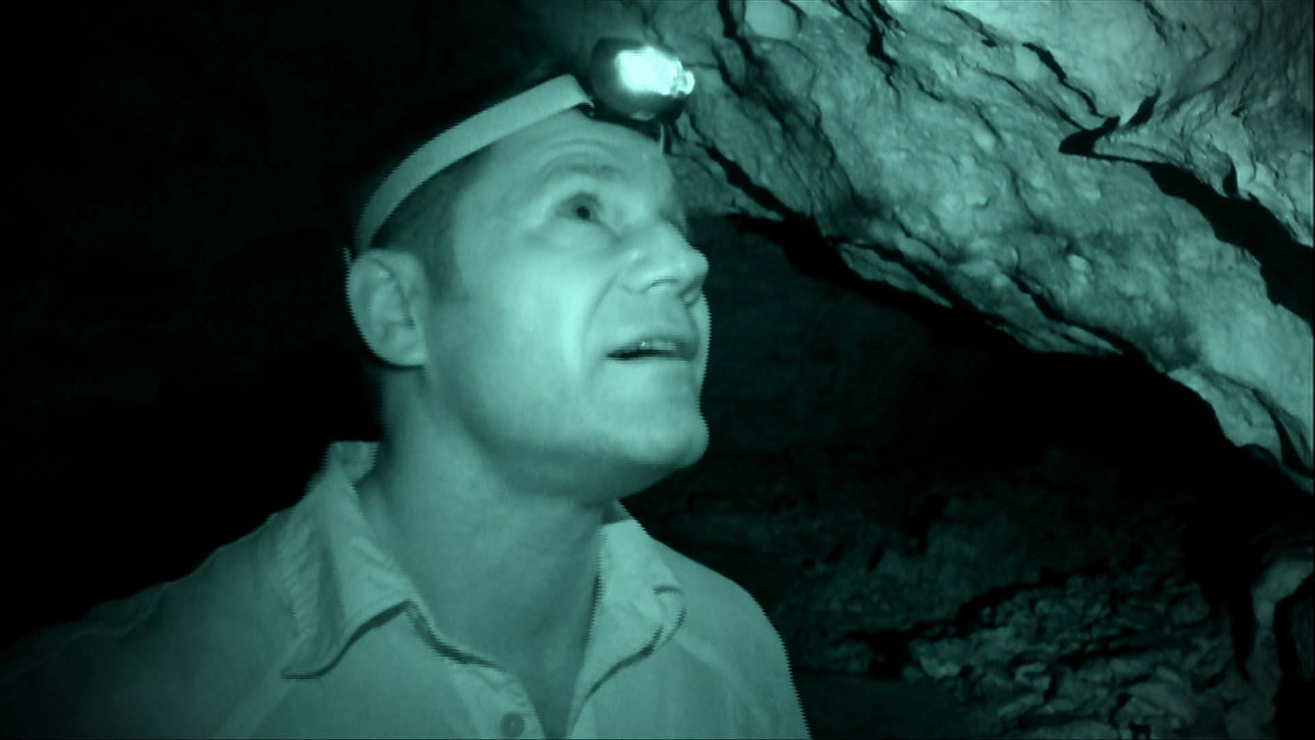 Steve in a cave.