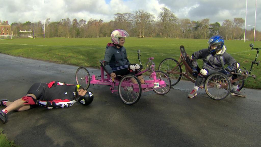 Barney, Lindsey and Radzi on homemade bikes