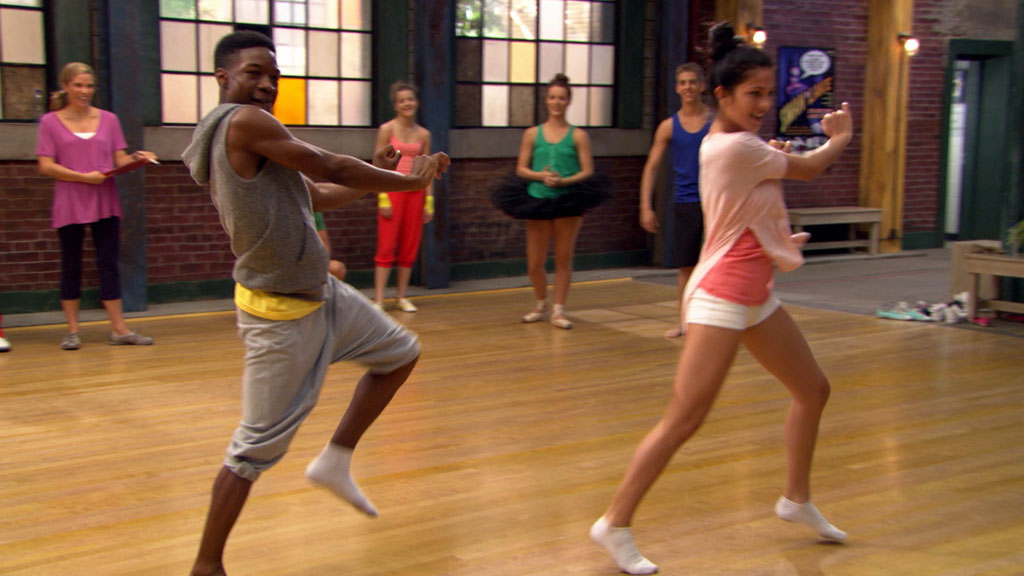 West and Stephanie from The Next Step performing a dance routine.