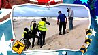 The All over the place crew filming on a sand dune.