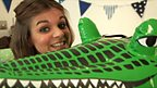 Lauren and a blow up crocodile