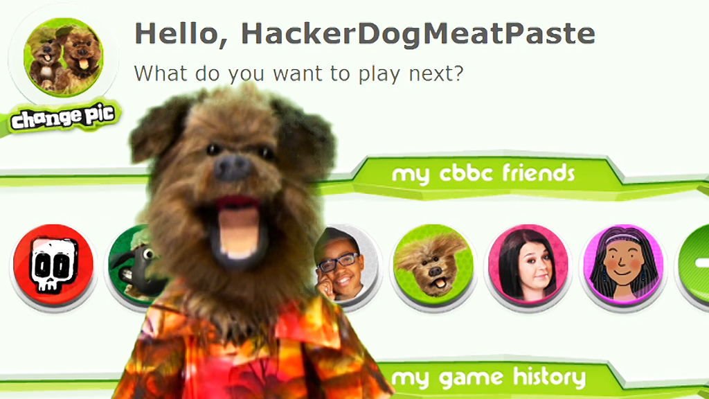 Hacker T Dog in front of the MyCBBC webpage.