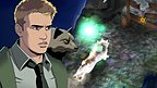 An illustrated Rhydian from Wolfblood with a wolf.