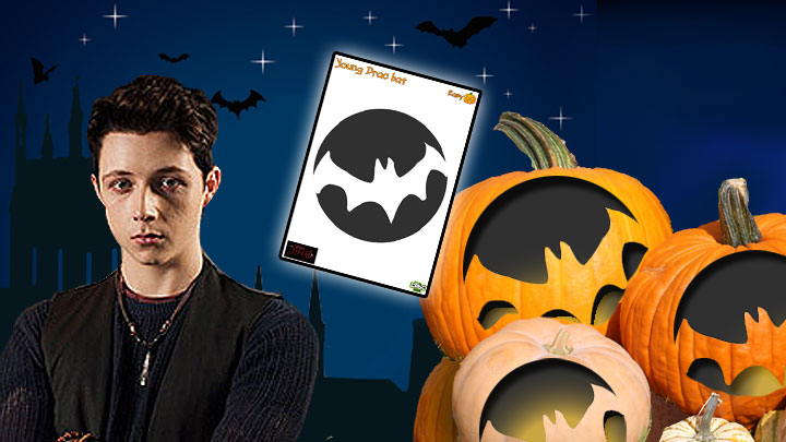 Young Drac, bat template and carved pumpkins.