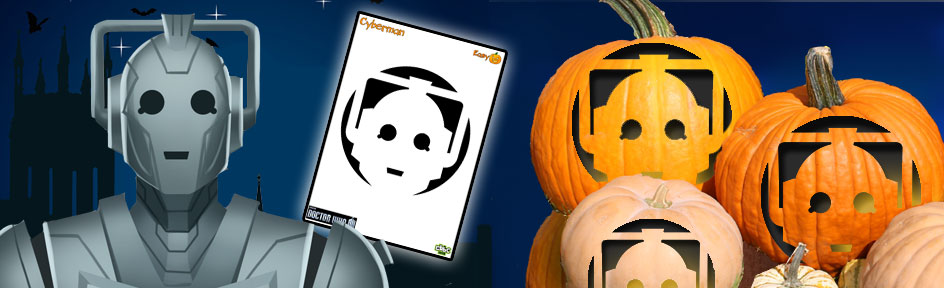 Cyberman, template and carved pumpkins.