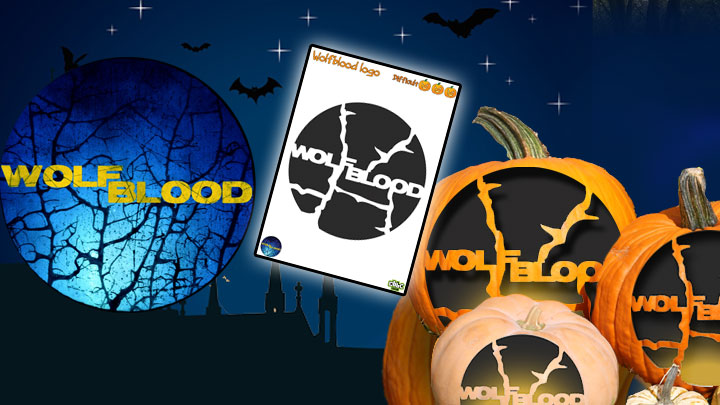 Wolfblood logo, template and carved pumpkins.