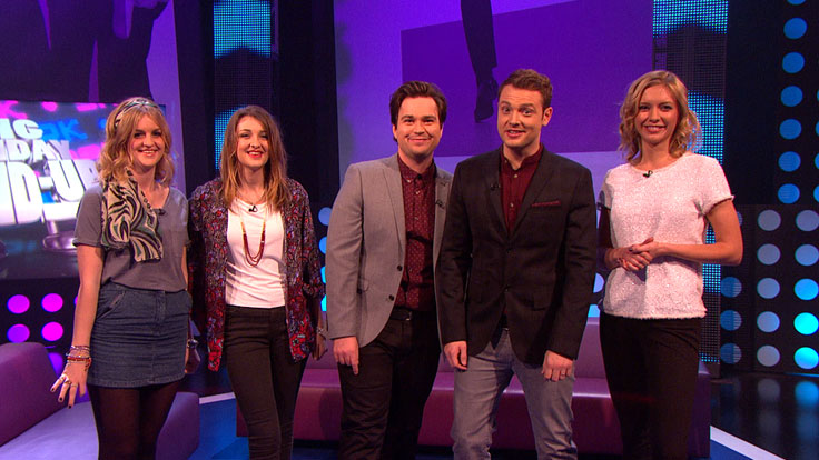 Sam and Mark with Country stars Ward Thomas and Countdown's Rachel Riley