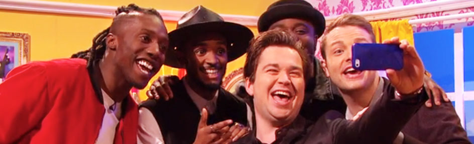 Sam and Mark taking a selfie with Rough Copy