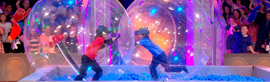 Red vs Blue team in Sam and Mark's Sport Showdown.