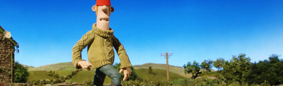 Farmer is balanced on a beam of wood, moon-walking on top of a ball