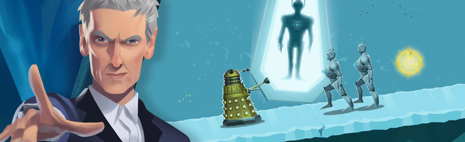The Doctor, with the Dalek behind him in the tomb of the Cybermen.