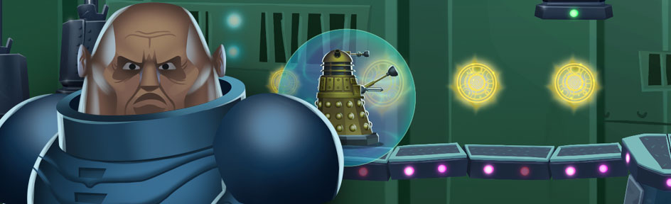 Sontaran, Dalek and game footage.