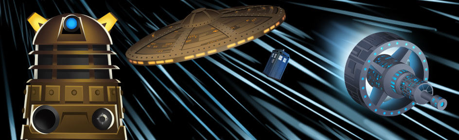 A Dalek, two battling ships and The Tardis on a starry background.