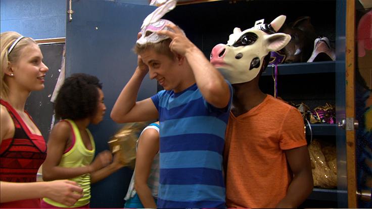 Eldon and West wearing animal hats.