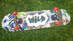 Skateboard with WILD logo.