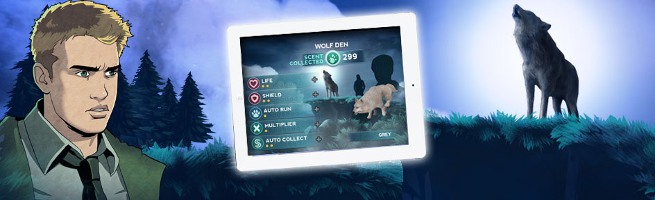 Rhydian and a wolf with a tablet showing a snapshot of the game.
