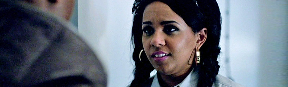 Kay, from Wolfblood, looks at Tom, upset.