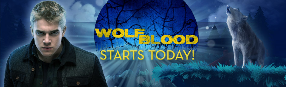 Rhydian next to 'Wolfblood Starts Today' and a wolf.