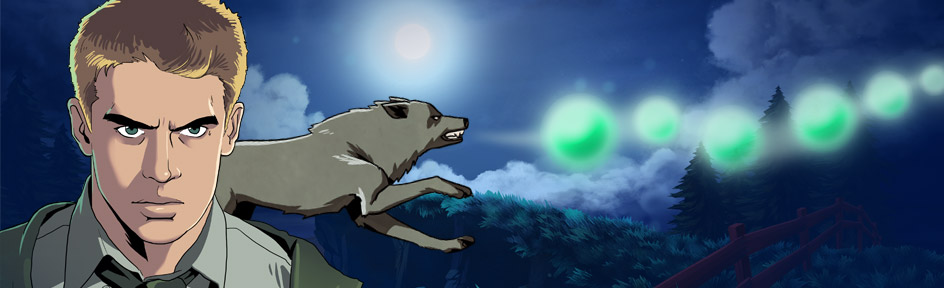 Illustrated Rhydian and wolf following green orbs.