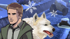 Rhydian and white wolf in front of a snow scene.