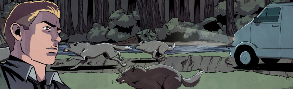 Illustrated wolfs, Rhydian and a van in the woods.