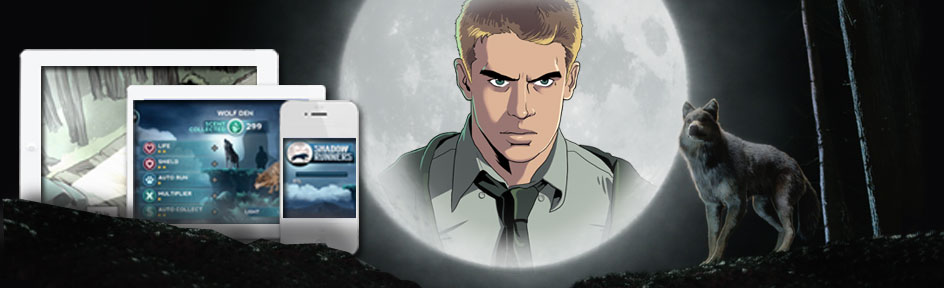 Rhydian, moon and tablets/mobile showing game images.