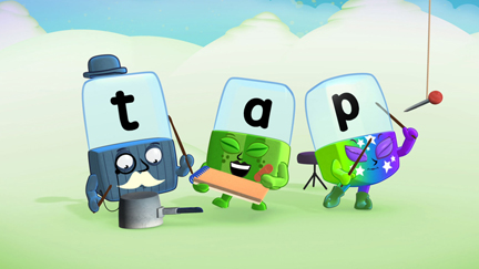 Alphablocks t, a and p spelling out the word 'tap