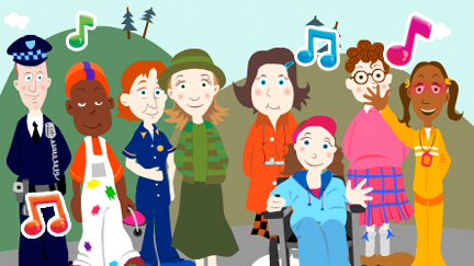 A cartoon version of the cast of Balamory.