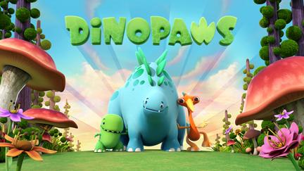 Dinopaws on green hills.