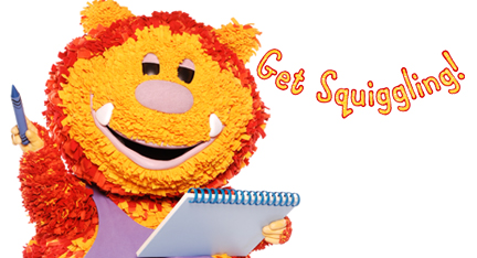 Squiglet holding a pencil and a pad of paper