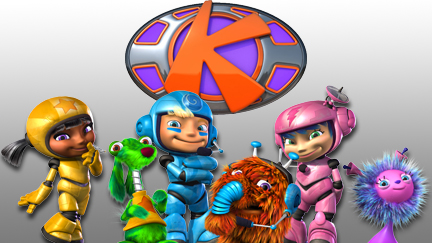 Kerwhizz characters in front of the Kerwhizz logo