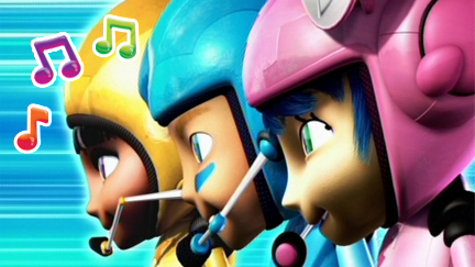 Twist, Ninki and Kaboodle surrounded by musical notes